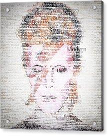 Bowie Typo Acrylic Print by Taylan Apukovska
