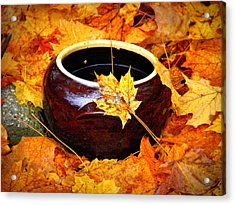 Acrylic Print featuring the photograph Bowl And Leaves by Rodney Lee Williams