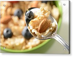 Bowl Of Cereal With Bluberries And Almonds On Spoon Acrylic Print by Brandon Bourdages
