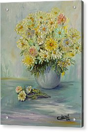Bowl Of Daisies Acrylic Print by Catherine Hamill