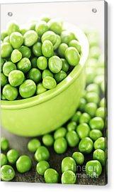 Bowl Of Green Peas Acrylic Print by Elena Elisseeva