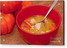 Bowl Of Homemade Chicken Noodle Soup Acrylic Print