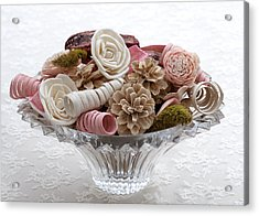 Bowl Of Potpourri On Lace Acrylic Print