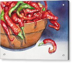 Bowl Of Red Hot Chili Peppers Acrylic Print by Lyn DeLano