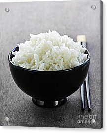 Bowl Of Rice With Chopsticks Acrylic Print by Elena Elisseeva