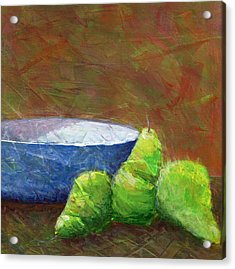 Bowl With Pears Acrylic Print by Karyn Robinson