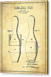 Bowling Pin Patent Drawing From 1938 - Vintage Acrylic Print