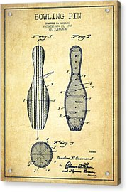 Bowling Pin Patent Drawing From 1939 -vintage Acrylic Print