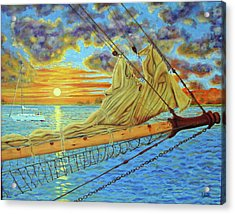 Acrylic Print featuring the painting Bowsprit Over The Ashley River by Dwain Ray