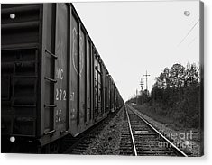 Box Cars And Tracks Acrylic Print by Russell Christie