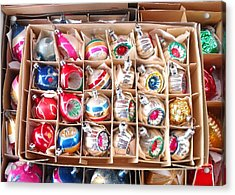 Box Of Vintage Ornaments Acrylic Print by Mark Barclay