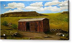 Acrylic Print featuring the painting Boxcar On The Plains by Sheri Keith