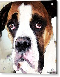 Boxer Art - Sad Eyes Acrylic Print by Sharon Cummings