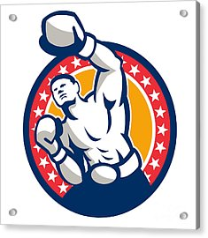 Boxer Boxing Punching Jabbing Retro Acrylic Print by Aloysius Patrimonio