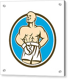 Boxer Champion Shouting Circle Retro Acrylic Print by Aloysius Patrimonio
