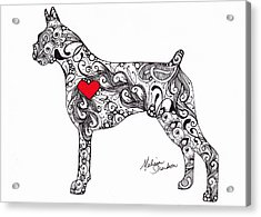 Acrylic Print featuring the drawing Boxer by Melissa Sherbon