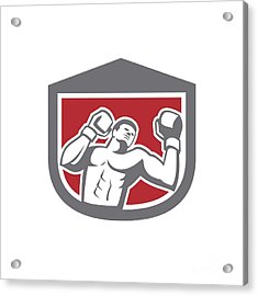 Boxer Punching Boxing Shield Retro Acrylic Print by Aloysius Patrimonio