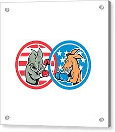 Boxing Democrat Donkey Versus Republican Elephant Mascot Acrylic Print by Aloysius Patrimonio