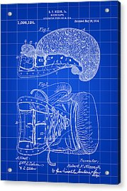 Boxing Glove Patent 1914 - Blue Acrylic Print by Stephen Younts