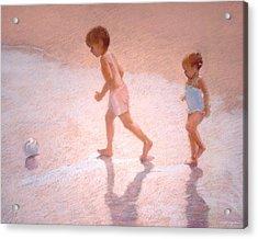 Boy And Girl W/ball Acrylic Print by J Reifsnyder