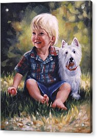 Boy And His Dog Acrylic Print by Janet McGrath