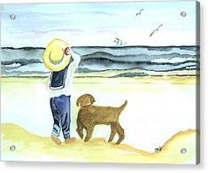 Boy And His Dog Acrylic Print by Marsha Heiken