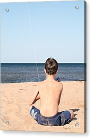Boy At The Beach Flying A Kite Acrylic Print
