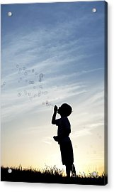 Boy Blowing Bubbles Acrylic Print by Tim Gainey