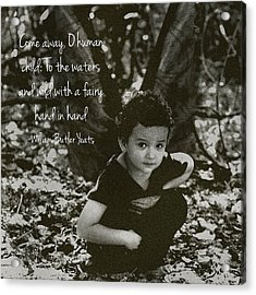 Boy Fairy And Quote Acrylic Print