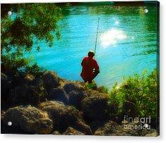Boy Fishing Acrylic Print by Andres LaBrada