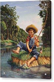 Boy Fishing In River Landscape - Childhood Memories - Flashback - Folkart - Nostalgic - Walt Curlee Acrylic Print
