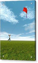 Boy Flying A Kite Acrylic Print by Carol & Mike Werner
