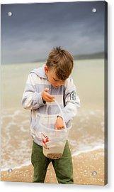 Boy Holding Crab Acrylic Print by Samuel Ashfield