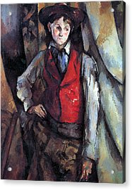 Boy In Red Waistcoat By Cezanne Acrylic Print by John Peter