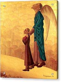 Boy Leading The Blind Angel Acrylic Print
