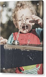 Boy Mesmerised By The Element Of Water In Motion Acrylic Print