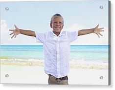 Boy On Beach Acrylic Print by Kicka Witte