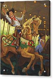 Boy On Carousel Horse Acrylic Print