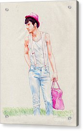 Boy On The Edge Of A Road Acrylic Print by Line Arion