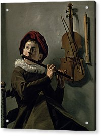Boy Playing The Flute Acrylic Print by Judith Leyster