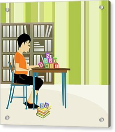Boy Playing With Number Blocks In A Library Acrylic Print