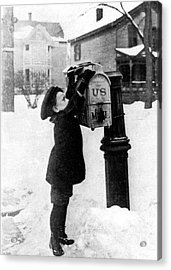 Boy Puts Letter Into Mailbox, C. 1880 Acrylic Print