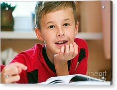 Boy Reading Book Portrait Acrylic Print by Michal Bednarek