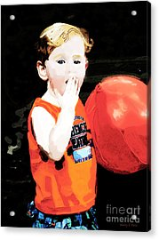 Boy With A Balloon Acrylic Print by Nancy E Stein
