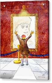 Boy With A Portrait Of His Mother Acrylic Print