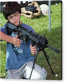 Boy With Automatic Rifle Acrylic Print by Jim West