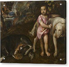Boy With Dogs In A Landscape Acrylic Print by Titian