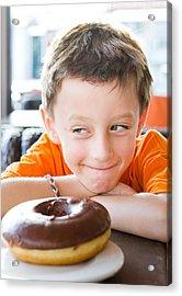 Boy With Donut Acrylic Print by Tom Gowanlock