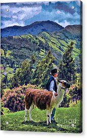Boy With Llama  Acrylic Print