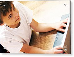 Boy With Notebook Acrylic Print by Michal Bednarek